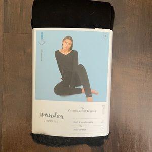 New Small Women's Black Velvet Lined Legging